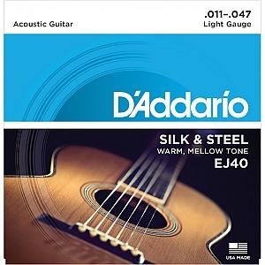 D`addario Silk & Steel Acoustic Guitar Strings EJ40